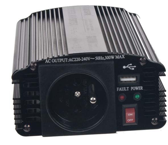 Měnič napětí 24V / 230V 300W + USB