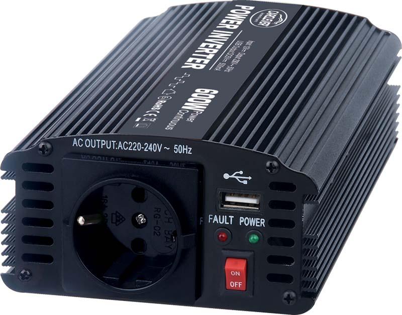 Měnič napětí 24V / 230V 600W + USB