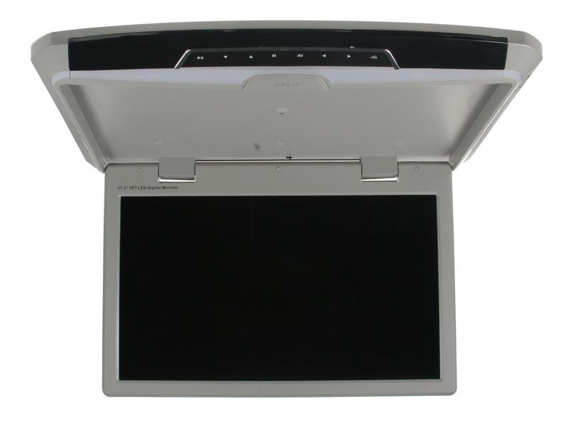 """Stropní LCD monitor 17,3"""" šedý s USB/HDMI/microSD, ultra tenký"""