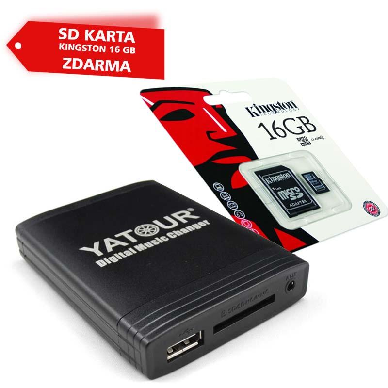 Digitální hudební adaptér YATOUR YT-M06 BEK Porsche/Mercedes/Ford/Alfa + SD karta Kingston 16 GB ZDARMA
